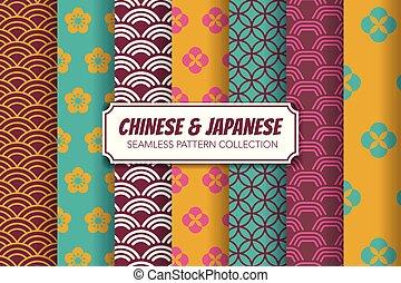 中国語, パターン, set., 日本語, イラスト, seamless, ベクトル