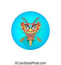 中国語, ベクトル, ボート, イラスト, ドラゴン