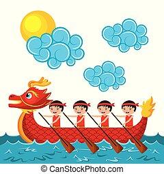 中国語, 人々, かいで漕ぐ, ドラゴン, 赤, ボート