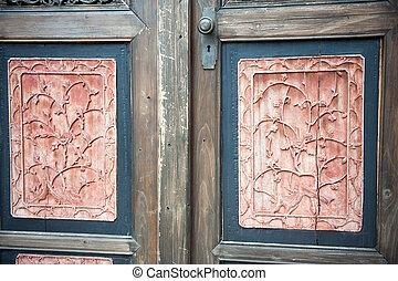 中国語, 古い, 木製の戸