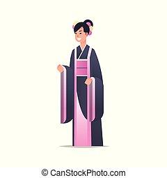 中国語, 国民, 日本語, フルである, 衣装, 女性, 女の子, 服, 地位, 古代, 特徴, 若い, 魅力的, 白, 身に着けていること, 平ら, 女, ポーズを取りなさい, 背景, 漫画, 伝統的である, 長さ, ∥あるいは∥, アジア人