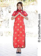 中国語, 女の子, ∥で∥, 服, 伝統的である, cheongsam