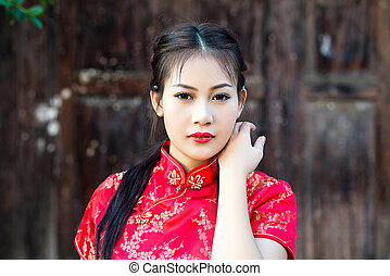 中国語, 女の子, 中に, 伝統的である, 中国語, cheongsam, 祝福