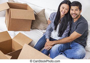 中国語, 家, 恋人, 箱, 引っ越し, アジア人, 荷を解くこと