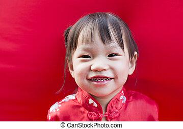 中国語, 強い味, 挨拶, 伝統的である, 陶磁器, スーツ, 女の子, 赤