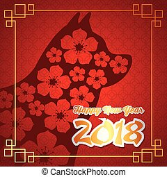 中国語, 新年おめでとう, の, ∥, 犬, カード