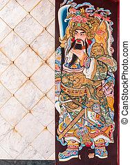 中国語, 木製である, door., 伝説, 絵, 神