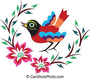 中国語, 東洋人, 鳥, 木