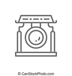 中国語, 楽器, アジア人, icon., どら, 線