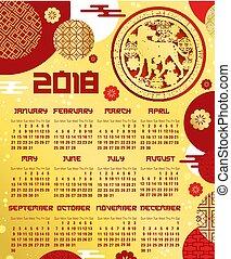 中国語, 犬, テンプレート, 年, 新しい, カレンダー, 黄道帯