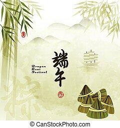 中国語, 祝祭, ゆで団子, ドラゴン, 背景, 米, ボート
