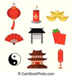 中国語, 習慣, 単純である, アイコン, ベクトル, イラスト, グラフィック, セット