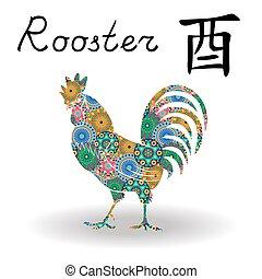 中国語, 色, 印, おんどり, 黄道帯, 花, 幾何学的