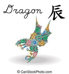 中国語, 色, 印, ドラゴン, 黄道帯, 花, 幾何学的