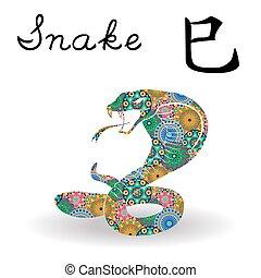 中国語, 色, 印, ヘビ, 黄道帯, 花, 幾何学的