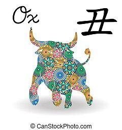中国語, 色, 印, 牛, 黄道帯, 花, 幾何学的