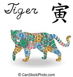 中国語, 色, 印, tiger, 黄道帯, 花, 幾何学的
