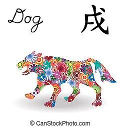 中国語, 色, 犬, 印, 明るい, 黄道帯, 花