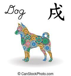 中国語, 色, 犬, 印, 黄道帯, 花, 幾何学的