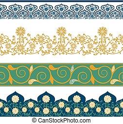 中国語, 装飾,  seamless, イラスト, パターン, ベクトル, 花, ボーダー