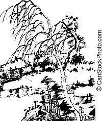 中国語, 風景, 絵