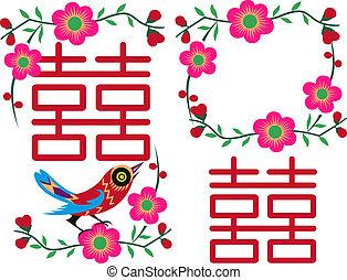 中国語, 鳥, グリーティングカード, デザイン