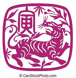 中国語, 黄道帯, の, tiger, 年