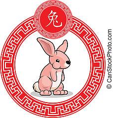 中国語, 黄道帯, 動物, -, うさぎ