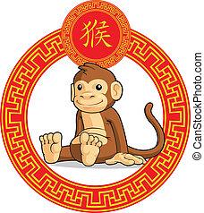 中国語, 黄道帯, 動物, -, サル