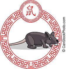 中国語, 黄道帯, 動物, -, ネズミ