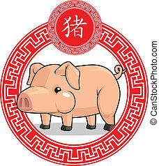 中国語, 黄道帯, 動物, -, 豚