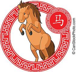 中国語, 黄道帯, 動物, -, 馬