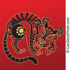 中国語, horoscope., 年, の, tiger