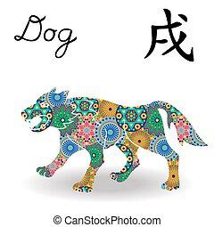 中国語, motley, 犬, 印, 幾何学的, 花, 黄道帯