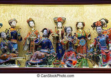 中国語, shop., 小立像, 上海, 記念品, 伝統的である, ミニチュア, 陶磁器