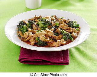 中國食物, -, 小雞, 以及, broccoli, 騷動油煎食品