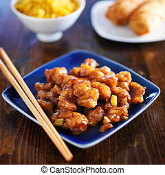 中國食物, -, 橙, 小雞, 上, 藍色的盤子