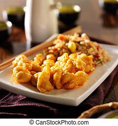 中國食物, -, 橙, 小雞, 由于, 油煎的稻米