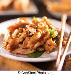 中國食物, -, 騷動油煎食品, 小雞, 由于, 蔬菜