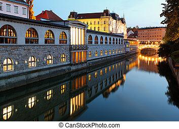中央である, -, スロベニア, ljubljanica, ljubljana, 川, 市場