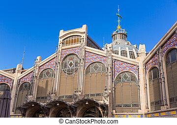 中央である, mercado, 市場, ファサド, バレンシア, スペイン