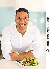 中央の, 年齢, 人, 持つこと, 緑 サラダ