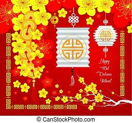 中央の, 秋, festival., 花, そして, ランタン, 背景