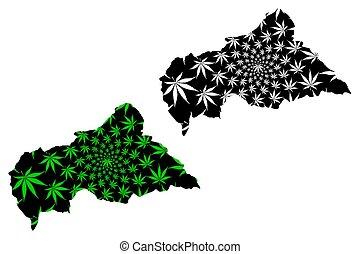中央アフリカ, -, 地図, ある, 設計された, インド大麻の葉
