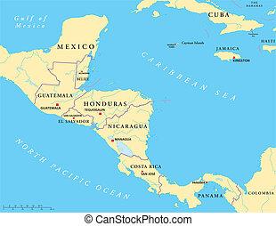 中央アメリカ, 政治的である, 地図