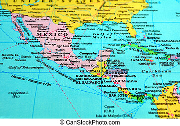 中央アメリカ, map.