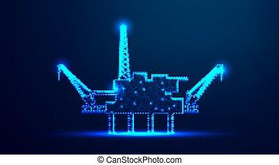 中央, 未来派, 点, ジャッキ, 噛み合いなさい, 海, 用具一式, 暗い, 低い, ベクトル, ライン。, design., の上, 沖合いに, デザイン, illustration., poly, 抽象的, 青, industry., 背景, wireframe, 接続, オイル