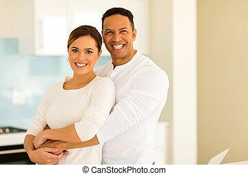 中年層, 人, 抱き合う, 彼の, 妻