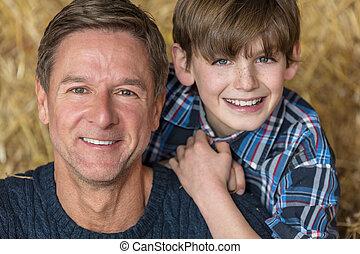 中年層, 父, 幸せ, 息子