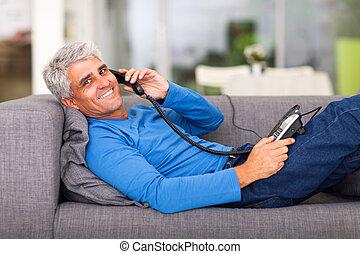 中年層, 男話し, 電話